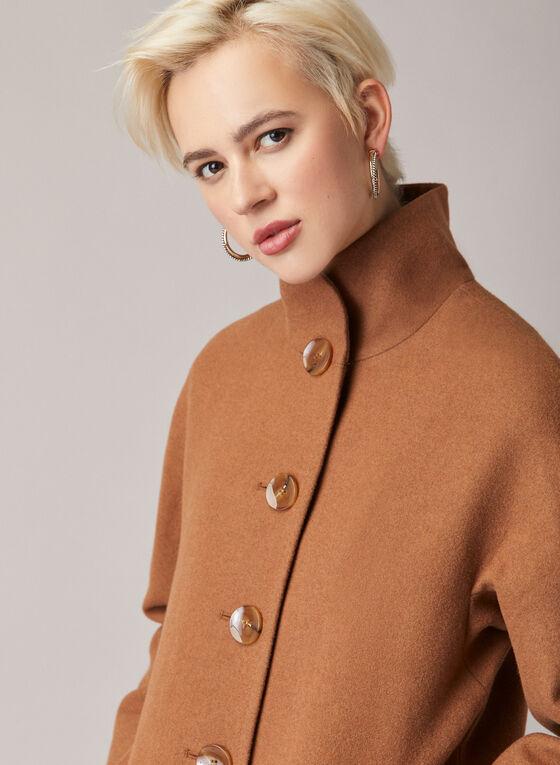 Manteau boutonné à col montant, Brun