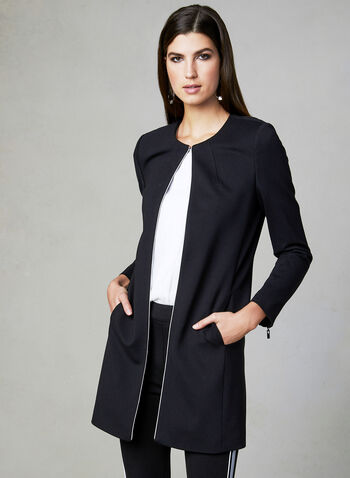 Mid Length Redingote Jacket, Black, hi-res