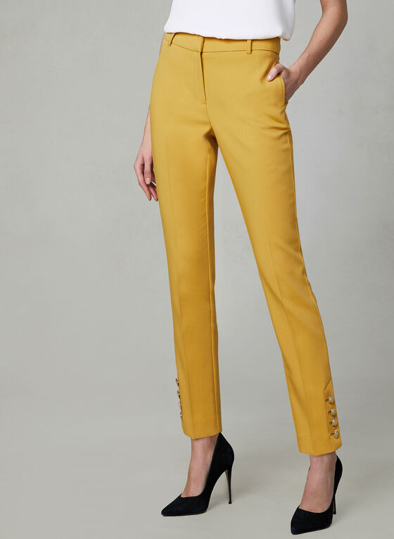 Button Detail Slim Leg Pants, Yellow