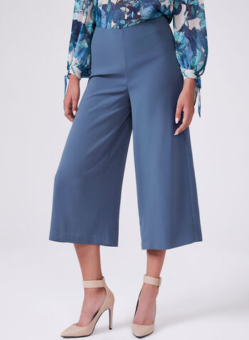 Cropped Wide Leg Pants, Blue, hi-res