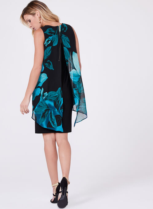 Frank Lyman - Asymmetric Floral Print Dress, Black, hi-res