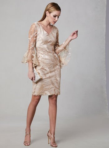 Frank Lyman - Metallic Embroidered Dress, Pink, hi-res