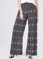 Ariella - Pantalon pull-on motif aztèque à jambe large, Noir, hi-res