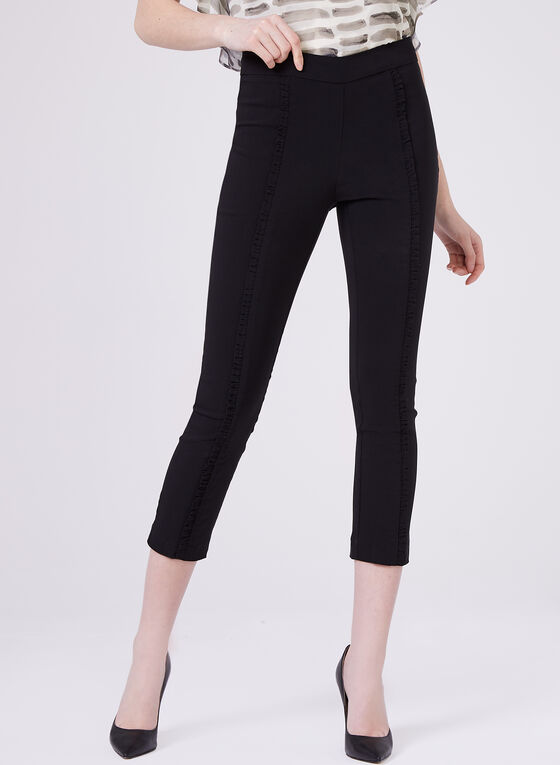 Ruffle Trim Pull-On Bengaline Capri, Black, hi-res
