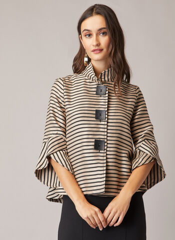 Stripe Print Tulip Sleeve Jacket, Black,  jacket, tulip sleeves, stripe print, button front, high collar, fall winter 2020