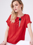 Lily Moss – Geometric Print Top, Red, hi-res
