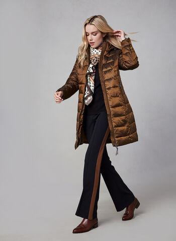 Novelti - Manteau iridescent en duvet végane, Brun,  automne hiver 2019, manteau, végane, matelassé, duvet, nylon, manches longues, col montant, zip, capuchon, Novelti