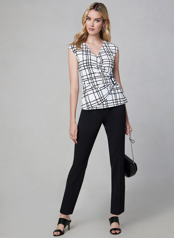 Buckle Detail Top, White, hi-res,  Canada, windowpane print, buckle, extended shoulder, fall 2019, winter 2019