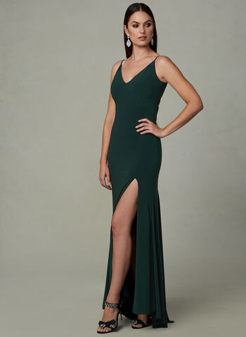 Side Slit Evening Dress, Green, hi-res