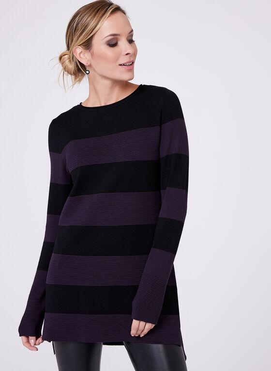 Pull à rayures contrastantes en tricot ottoman, Violet, hi-res