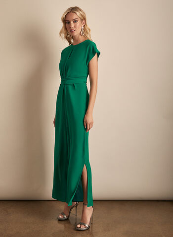 Maggy London - Crepe Jumpsuit, Green,  jumpsuit, wide leg, cap sleeves, keyhole, round neck, crepe, tie belt, cinched, spring summer 2020