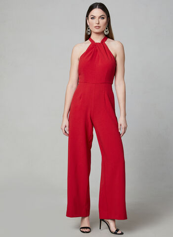 Julia Jordan - Halter Neck Jumpsuit, Red, hi-res,  wide leg, crepe, sleeveless, spring 2019