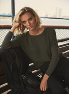 Long Sleeve Crepe & Knit Tunic, Green