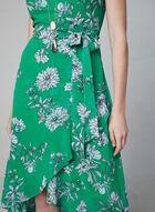 Robe fleurie en mousseline volantée, Vert, hi-res