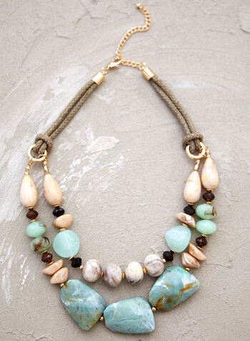 Double Row Beaded Necklace, Green,  spring summer 2021, necklace, chains, short, chunky, accessory, accessories, beads, stones, faceted, carabiner clasp, two rows,