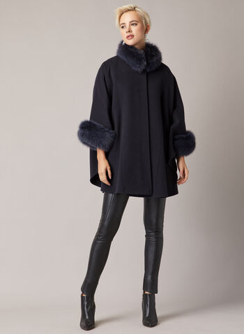 Mallia - Fur & Cashmere Blend Coat, Blue,  coat, wool, cashmere, fox fur, high neck, single button, fall winter 2020