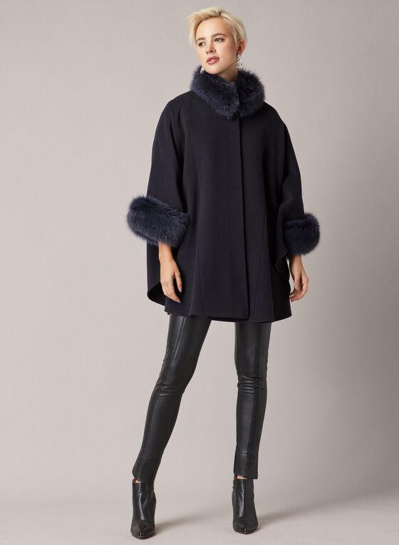 Mallia - Fur & Cashmere Blend Coat, Blue