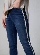 Jean à jambe étroite et détails peau de serpent, Bleu, hi-res