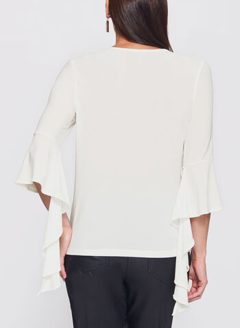 Ruffle Bell Sleeve Knit Top, Off White, hi-res