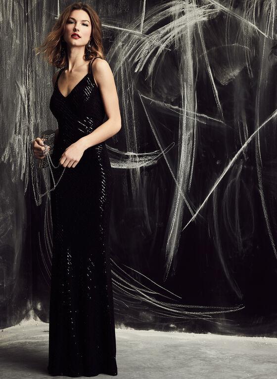 Cachet - Open Back Glitter Dress, Black