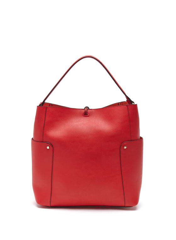 Faux Leather Bucket Bag, Orange, hi-res