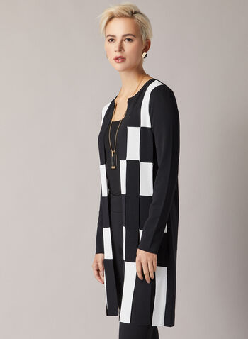 Joseph Ribkoff - Checkerboard Print Cardigan, Black,  cardigan, long, knit, colour block, long sleeve, open, fall winter 2020