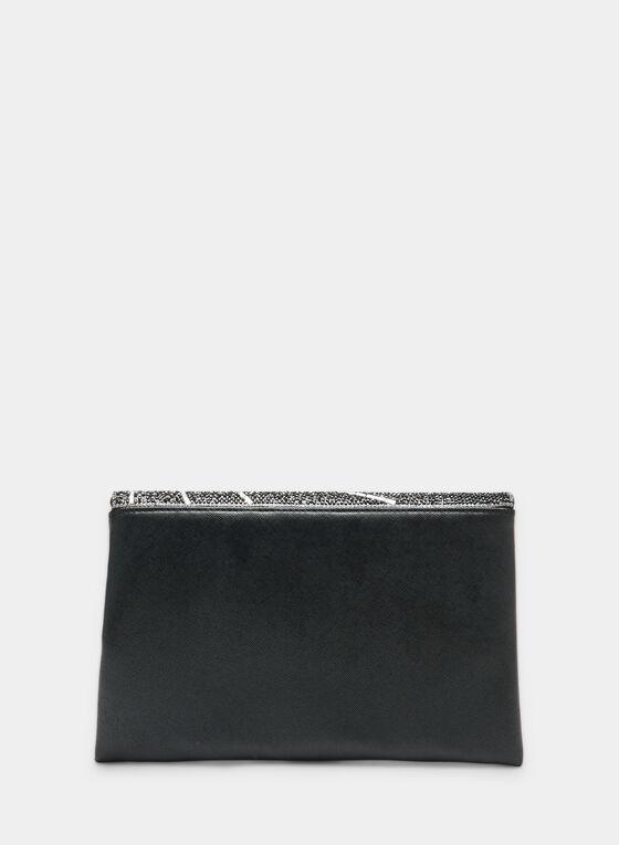 Pochette à rabat asymétrique et cristaux, Noir