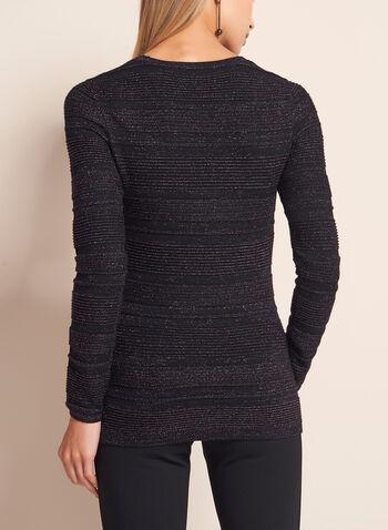 Metallic Stripe Knit Sweater, Purple, hi-res