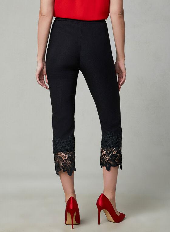Lace Detail Capri Pants, Black, hi-res