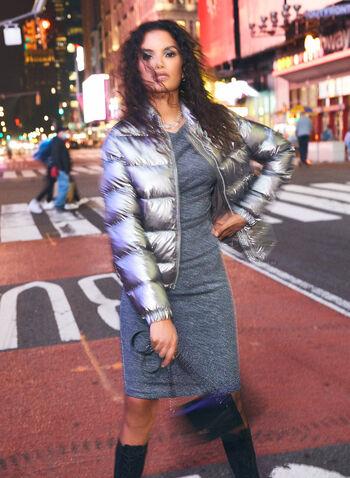 Robe à col drapé en fibres métallisées, Bleu,  robe cocktail, col drapé, manches courtes, fibres métallisées, automne hiver 2020