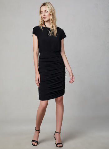 Julia Jordan – Ruched Sheath Dress, Black, hi-res,  little black dress, lbd, jersey dress, sleeveless dress