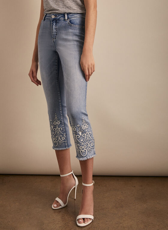 Embroidered Fringed Capri Pants, Blue