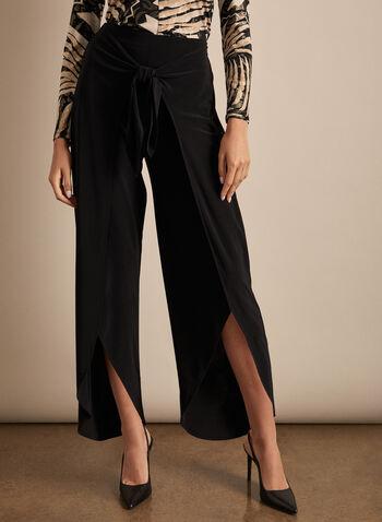 Joseph Ribkoff - Front Slit Wide Leg Pants, Black,  Canada, Joseph Ribkoff, pants, wide-leg pants, wide-leg, jersey, jersey pants, slit, spring 2020, summer 2020