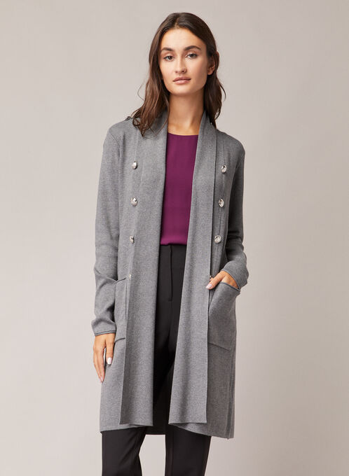 Button Detail Open Front Cardigan, Grey