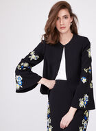 T Tahari - Embroidered Detail Crepe Bell Sleeve Blazer, Black, hi-res