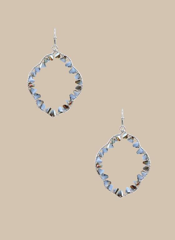 Beaded Loop Dangle Earrings, Blue