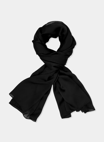 Solid Colour Charmeuse Wrap, Black, hi-res