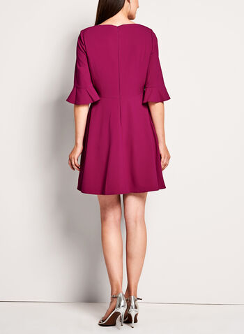T Tahari - 3/4 Sleeve Fit & Flare Dress, Pink, hi-res