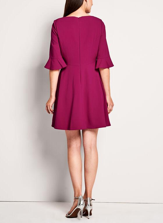 T Tahari - 3/4 Sleeve Fit & Flare Dress, Pink, hi-res