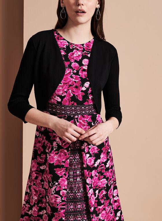 3/4 Sleeve Knit Bolero, Black, hi-res