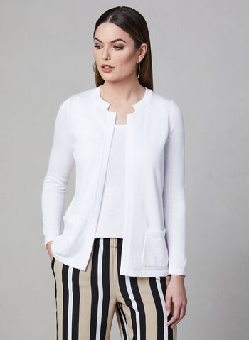 Alison Sheri - Open Front Knit Cardigan, White, hi-res,  spring 2019, long sleeves