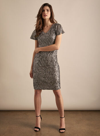 Alex Evenings - Sequin Cocktail Dress, Silver,  dress, cocktail, column, short sleeves