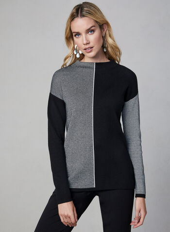 Mock Neck Colour Block Sweater, Black, hi-res,  long sleeves, mock neck, contrast colours, fall 2019, winter 2019