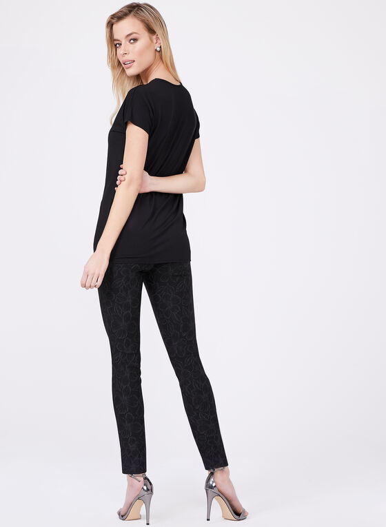 Lace Effect Jersey Top, Black, hi-res