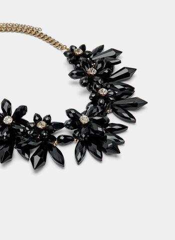 Collier plastron à fleurs en pierres, Noir, hi-res