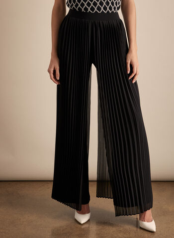 Frank Lyman - Pantalon à effet plissé, Noir,  pantalon, pull-on, jambe large, mousseline, plissé, jersey, printemps été 2020