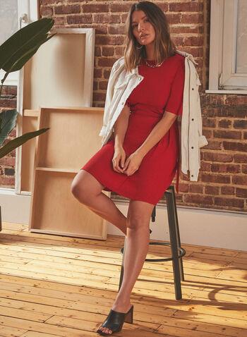 Vince Camuto - Flutter Sleeve Day Dress, Red,  dress, day, round neck, short sleeves, flutter, d-ring, spring summer 2021