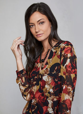 Floral Print Blouse, Orange, hi-res,  blouse, floral print, long sleeves, crossover front, V-neck, chiffon, fall 2019, winter 2019