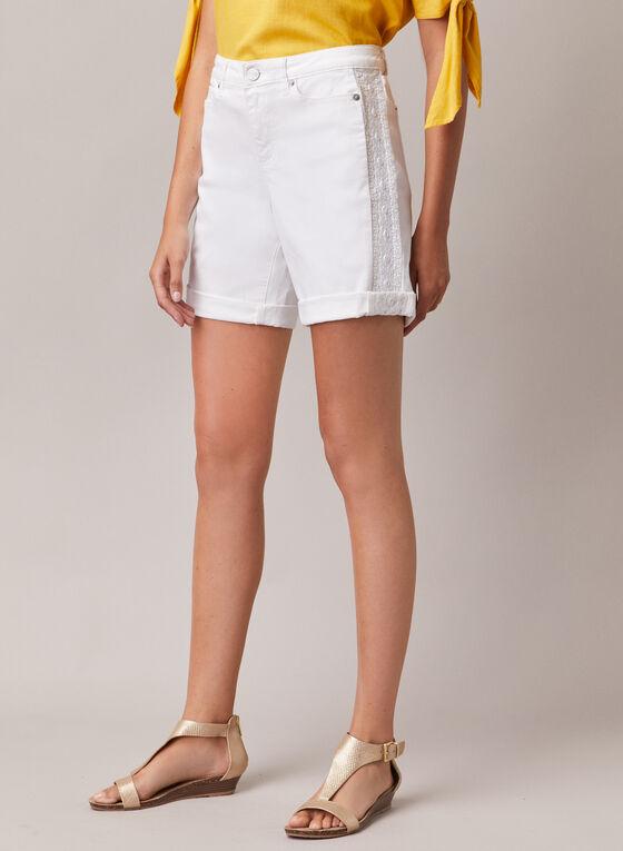 Embroidered Detail Denim Shorts, White