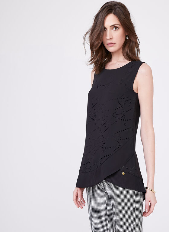 Vex - Sleeveless Crepe Blouse, Black, hi-res